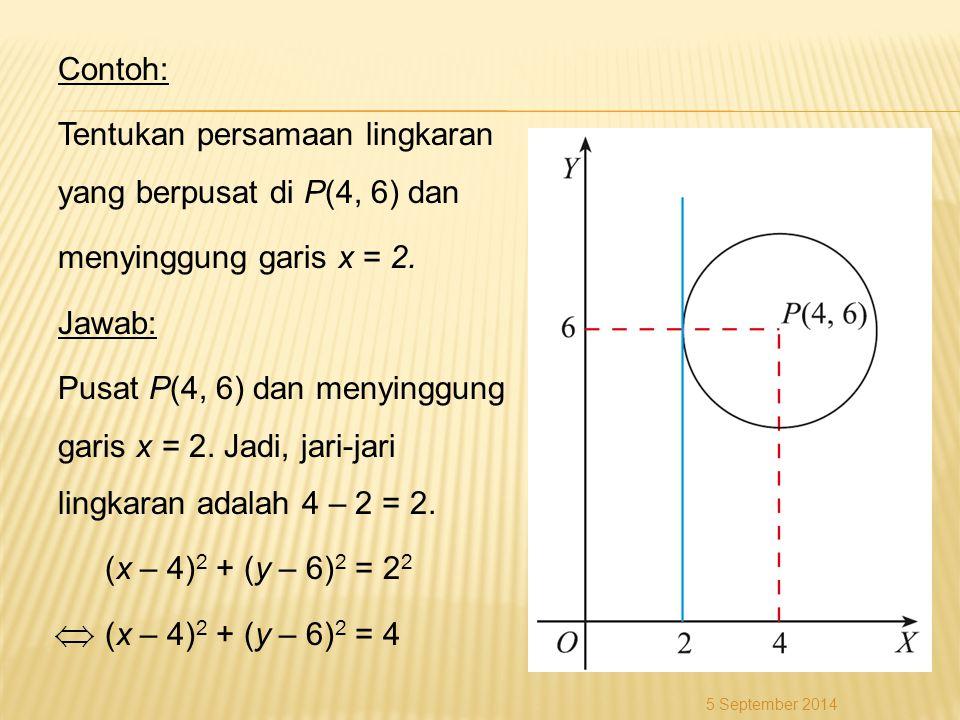 Contoh: Tentukan persamaan lingkaran yang berpusat di P(4, 6) dan menyinggung garis x = 2. Jawab: Pusat P(4, 6) dan menyinggung garis x = 2. Jadi, jar