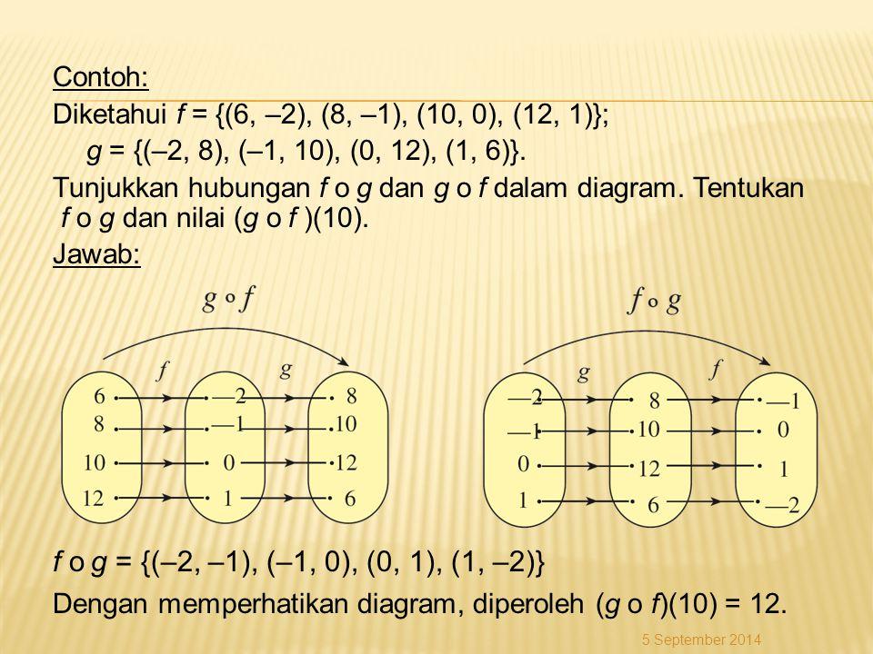 Contoh: Diketahui f = {(6, –2), (8, –1), (10, 0), (12, 1)}; g = {(–2, 8), (–1, 10), (0, 12), (1, 6)}. Tunjukkan hubungan f o g dan g o f dalam diagram