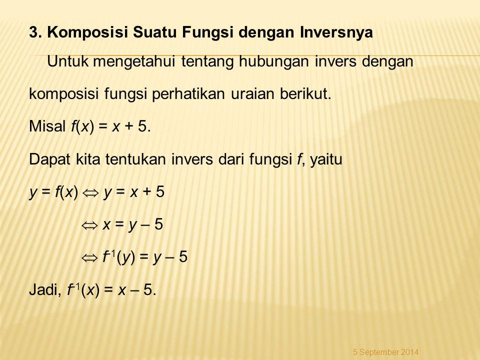 3.Komposisi Suatu Fungsi dengan Inversnya Untuk mengetahui tentang hubungan invers dengan komposisi fungsi perhatikan uraian berikut. Misal f(x) = x +
