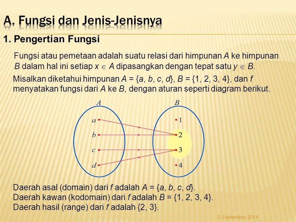 1. Pengertian Fungsi Fungsi atau pemetaan adalah suatu relasi dari himpunan A ke himpunan B dalam hal ini setiap x  A dipasangkan dengan tepat satu y