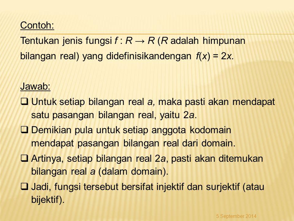 Contoh: Tentukan jenis fungsi f : R → R (R adalah himpunan bilangan real) yang didefinisikandengan f(x) = 2x. Jawab:  Untuk setiap bilangan real a, m