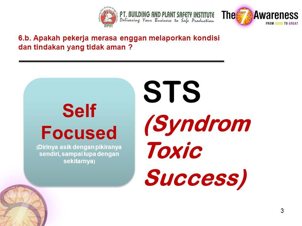6.b. Apakah pekerja merasa enggan melaporkan kondisi dan tindakan yang tidak aman ? 3 1 jam silence STS (Syndrom Toxic Success) Self Focused ( Dirinya