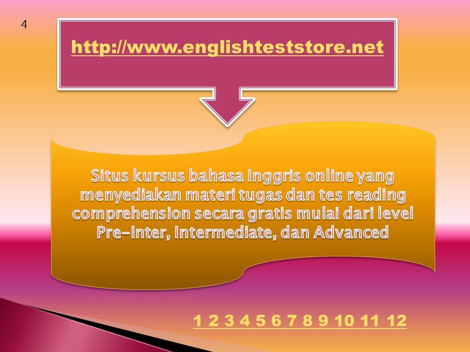 http://www.englishteststore.net 4 1 2 3 4 5 6 7 8 9 10 11 12
