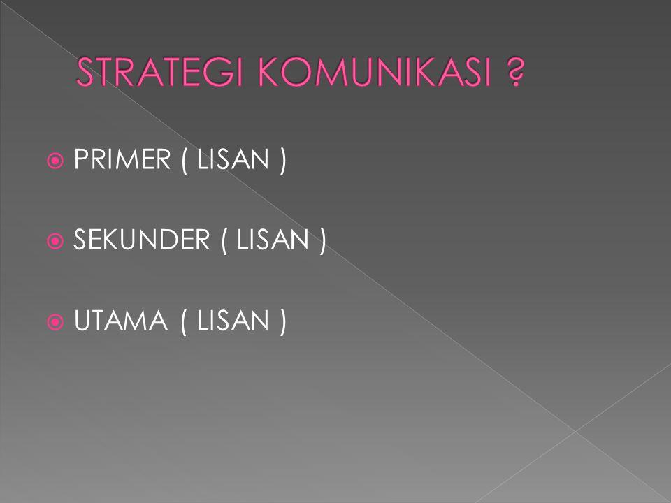  PRIMER ( LISAN )  SEKUNDER ( LISAN )  UTAMA ( LISAN )