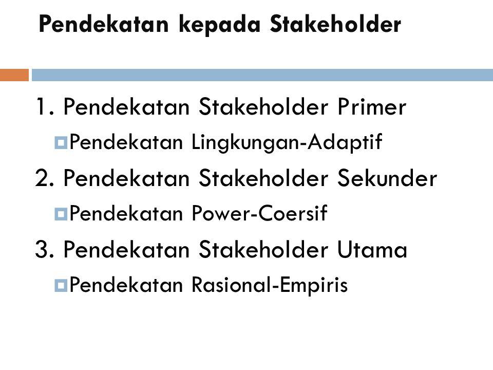 Pendekatan kepada Stakeholder 1. Pendekatan Stakeholder Primer  Pendekatan Lingkungan-Adaptif 2.