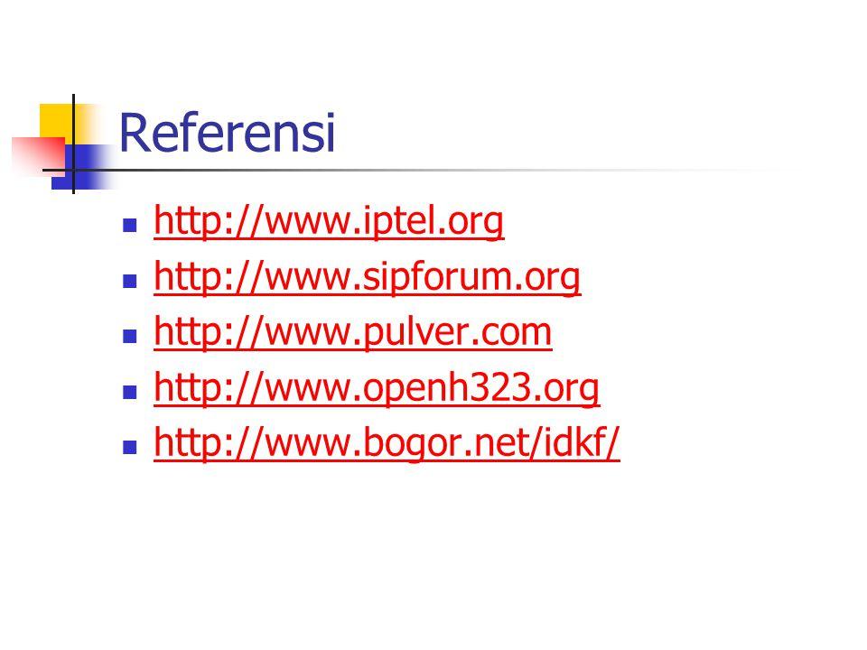 Referensi http://www.iptel.org http://www.sipforum.org http://www.pulver.com http://www.openh323.org http://www.bogor.net/idkf/