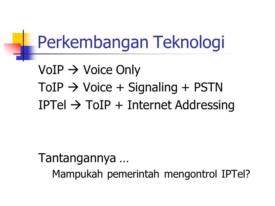 Perkembangan Teknologi VoIP  Voice Only ToIP  Voice + Signaling + PSTN IPTel  ToIP + Internet Addressing Tantangannya … Mampukah pemerintah mengontrol IPTel