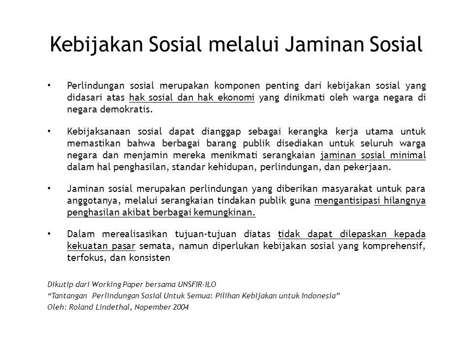 Kebijakan Sosial melalui Jaminan Sosial Perlindungan sosial merupakan komponen penting dari kebijakan sosial yang didasari atas hak sosial dan hak eko
