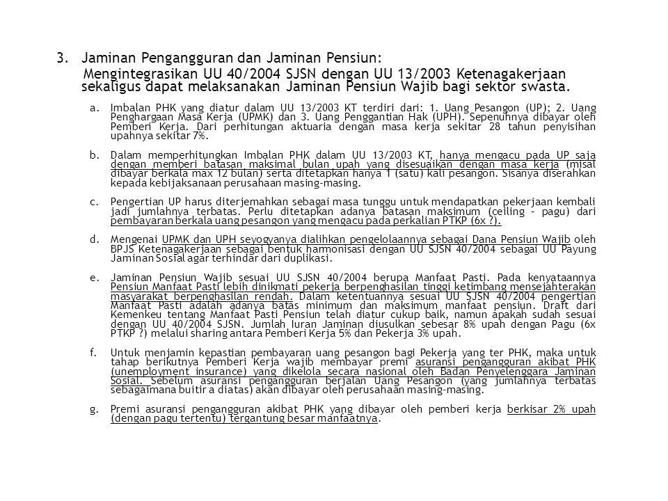 3.Jaminan Pengangguran dan Jaminan Pensiun: Mengintegrasikan UU 40/2004 SJSN dengan UU 13/2003 Ketenagakerjaan sekaligus dapat melaksanakan Jaminan Pe