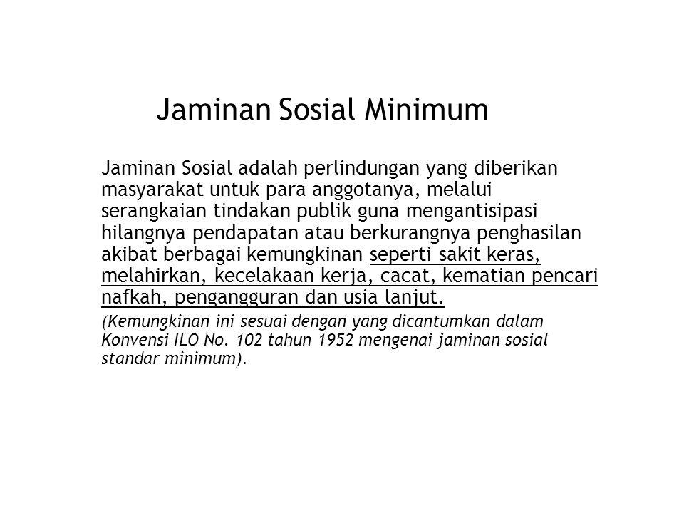 Jaminan Sosial Minimum Jaminan Sosial adalah perlindungan yang diberikan masyarakat untuk para anggotanya, melalui serangkaian tindakan publik guna me