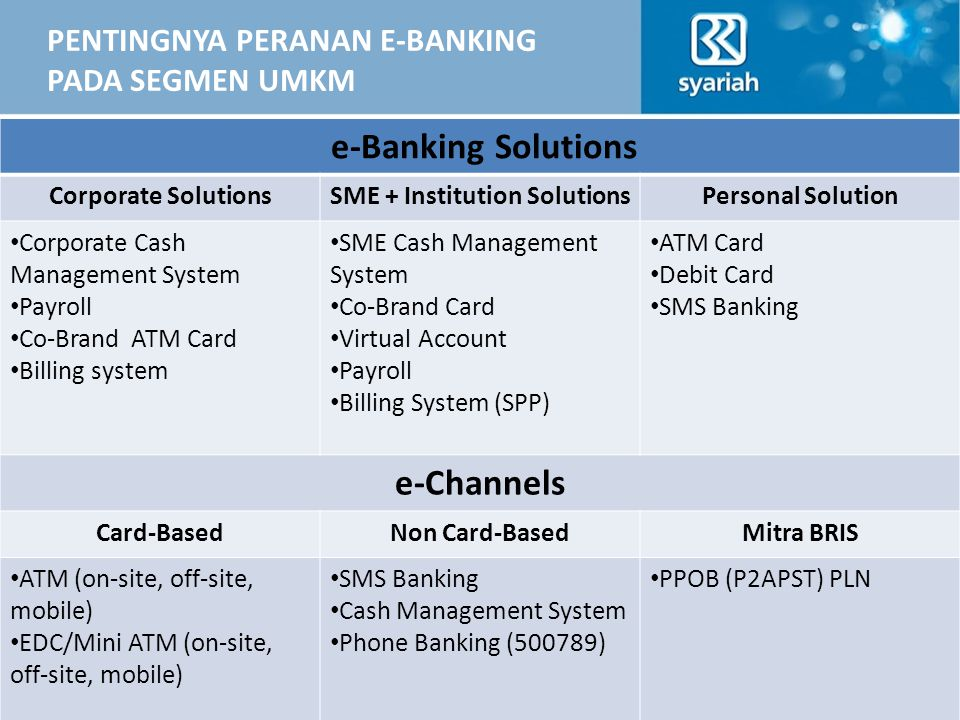 PENTINGNYA PERANAN E-BANKING PADA SEGMEN UMKM Business acceleration  e-channels + features development e-Banking Solutions Corporate SolutionsSME + I