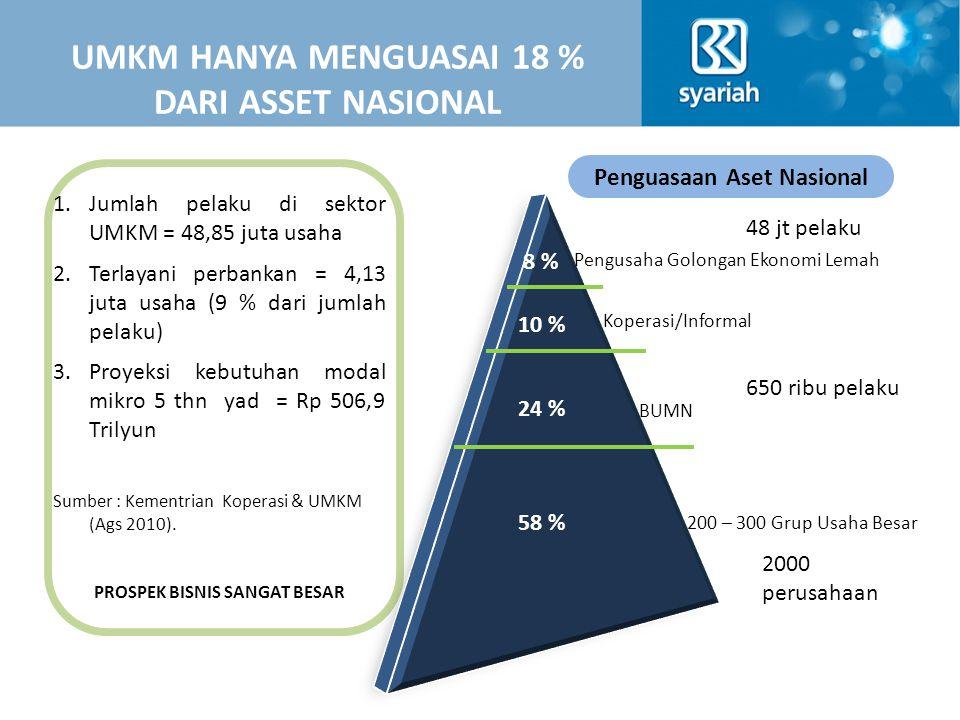 8 % 10 % 24 % 58 % Pengusaha Golongan Ekonomi Lemah Koperasi/Informal BUMN 200 – 300 Grup Usaha Besar UMKM HANYA MENGUASAI 18 % DARI ASSET NASIONAL 1.Jumlah pelaku di sektor UMKM = 48,85 juta usaha 2.Terlayani perbankan = 4,13 juta usaha (9 % dari jumlah pelaku) 3.Proyeksi kebutuhan modal mikro 5 thn yad = Rp 506,9 Trilyun Sumber : Kementrian Koperasi & UMKM (Ags 2010).