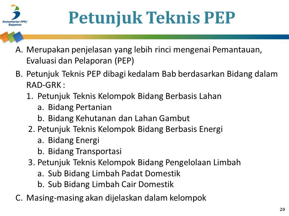 Petunjuk Teknis PEP A.Merupakan penjelasan yang lebih rinci mengenai Pemantauan, Evaluasi dan Pelaporan (PEP) B.Petunjuk Teknis PEP dibagi kedalam Bab