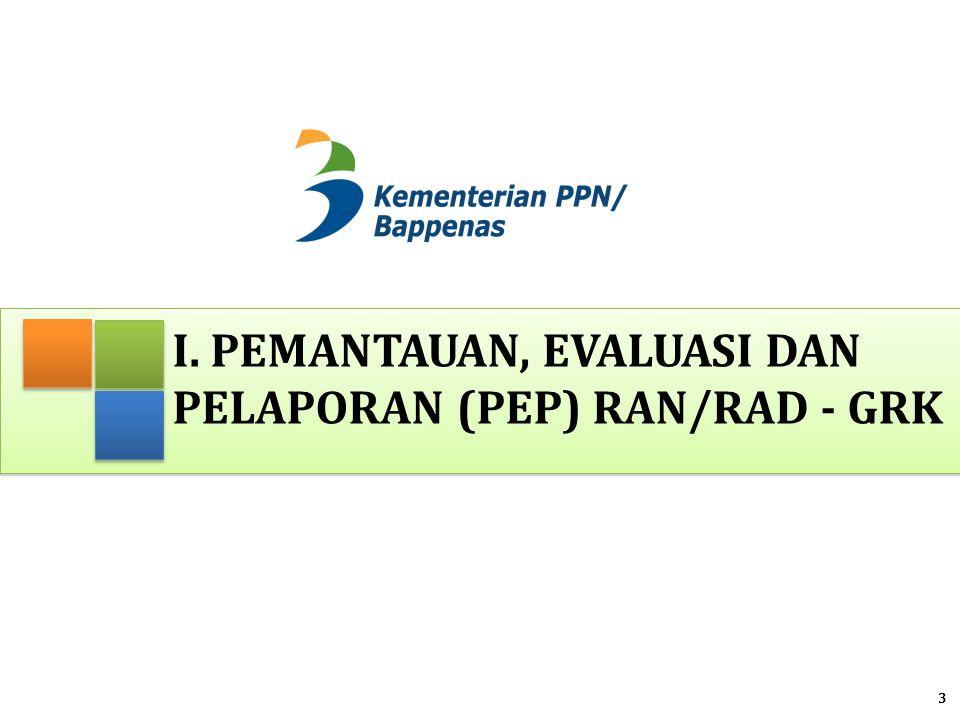 Pelaksanaan PEP RAN/RAD-GRK 1.Setelah tersusunnya dokumen RAD-GRK dan ditetapkan melalui Pergub  pelaksanaan RAD – GRK mulai dilakukan 2.Untuk mengukur besaran penurunan emisi dari kegiatan yang dilakukan maka diperlukan sistem Pemantauan, Evaluasi dan Pelaporan (PEP) RAN/RAD - GRK 3.PEP mengacu kepada PP 39/2006 tentang Tata Cara Pengendalian dan Evaluasi Pelaksanaan Rencana Pembangunan Permendagri 54/2010 tentang Pelaksanaan PP No 8/2008 4.Format laporan dan tabel PEP telah disiapkan 4 Disosialisasikan pada akhir bulan Mei dan Juni