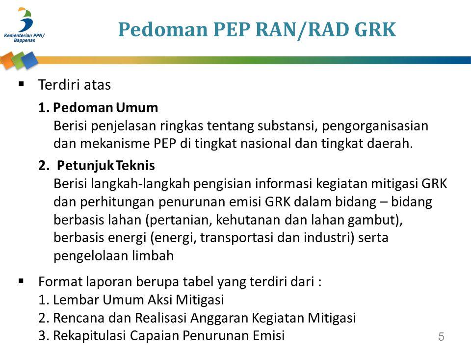Pedoman PEP RAN/RAD GRK  Terdiri atas 1.Pedoman Umum Berisi penjelasan ringkas tentang substansi, pengorganisasian dan mekanisme PEP di tingkat nasio