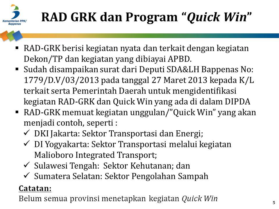 5 RAD GRK dan Program Quick Win  RAD-GRK berisi kegiatan nyata dan terkait dengan kegiatan Dekon/TP dan kegiatan yang dibiayai APBD.