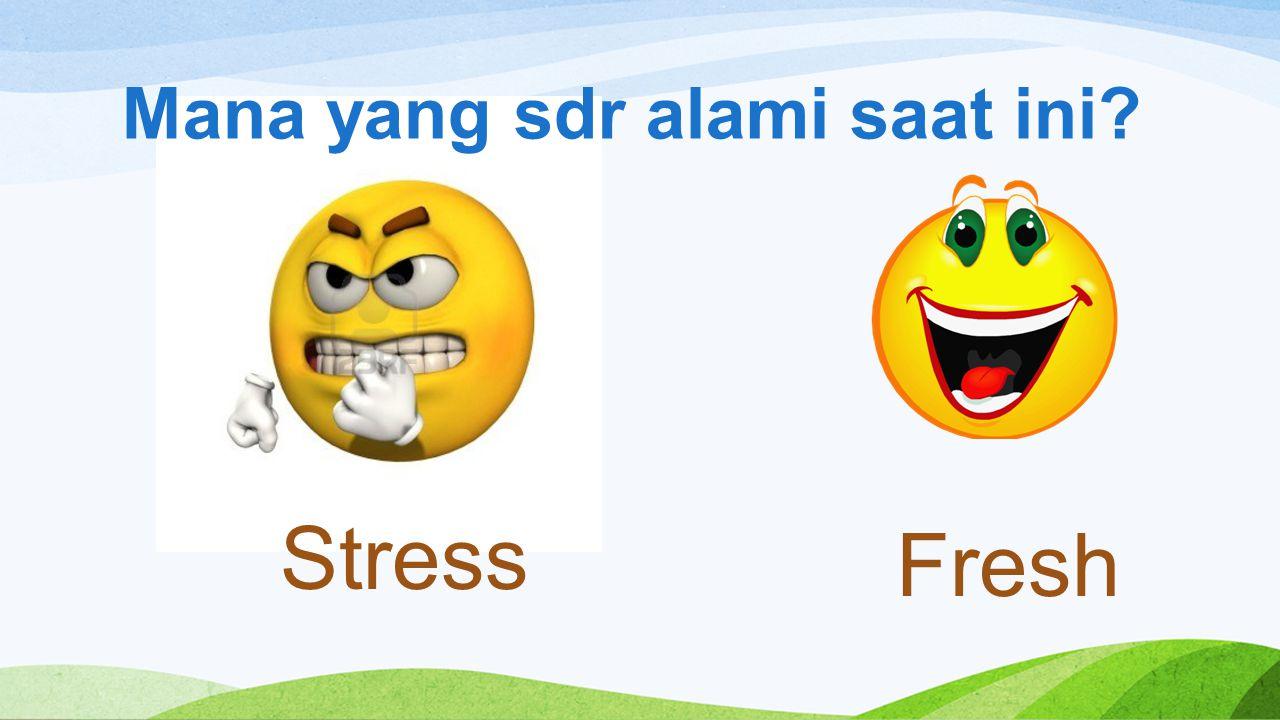 Mana yang sdr alami saat ini? Stress Fresh