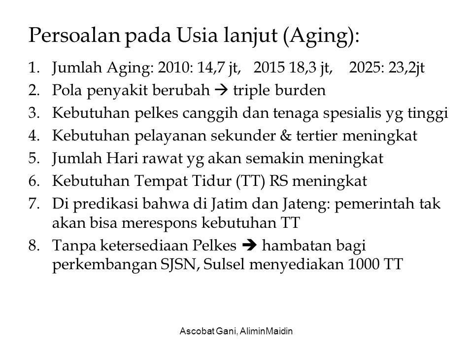 Persoalan pada Usia lanjut (Aging): 1.Jumlah Aging: 2010: 14,7 jt, 2015 18,3 jt, 2025: 23,2jt 2.Pola penyakit berubah  triple burden 3.Kebutuhan pelk