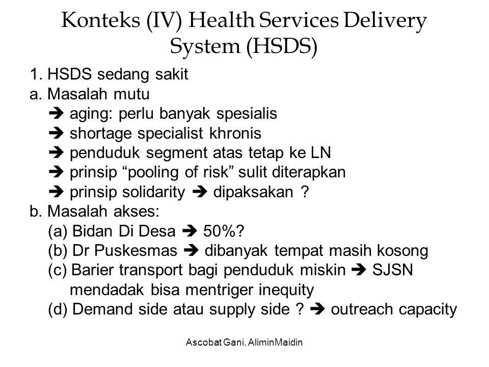Ascobat Gani, AliminMaidin Konteks (IV) Health Services Delivery System (HSDS) 1. HSDS sedang sakit a. Masalah mutu  aging: perlu banyak spesialis 