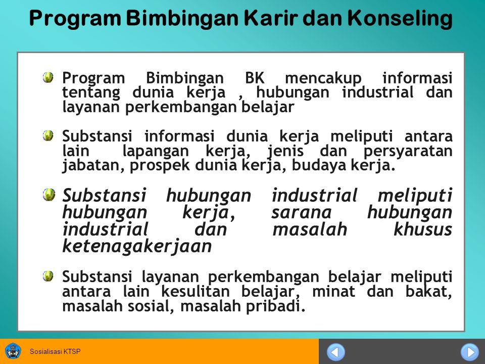 Sosialisasi KTSP Program Bimbingan Karir dan Konseling Program Bimbingan BK mencakup informasi tentang dunia kerja, hubungan industrial dan layanan pe