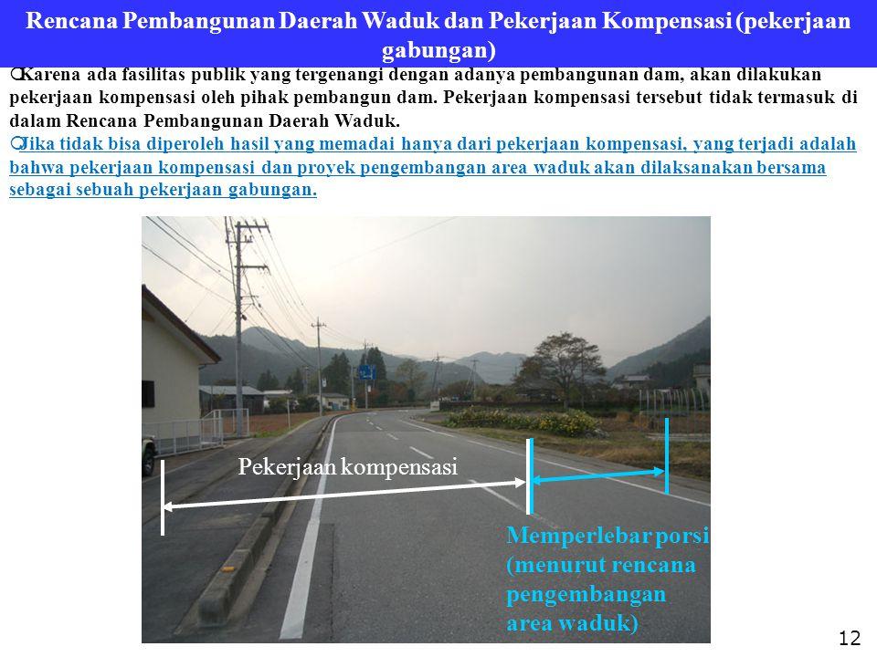  Karena ada fasilitas publik yang tergenangi dengan adanya pembangunan dam, akan dilakukan pekerjaan kompensasi oleh pihak pembangun dam. Pekerjaan k
