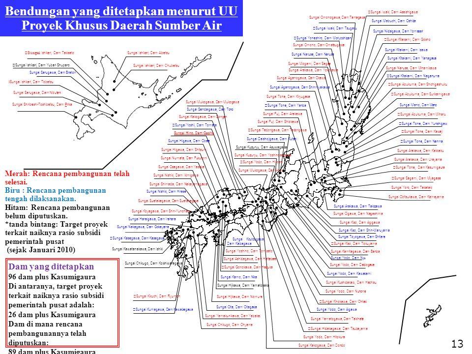 13 ※ Sungai Ishikari, Dam Takisato Sungai Sarugawa, Dam Nibutani Sungai Shiribeshi-Toshibetsu, Dam P irika Sungai Ishikari, Dam Aibetsu Sungai Omonoga