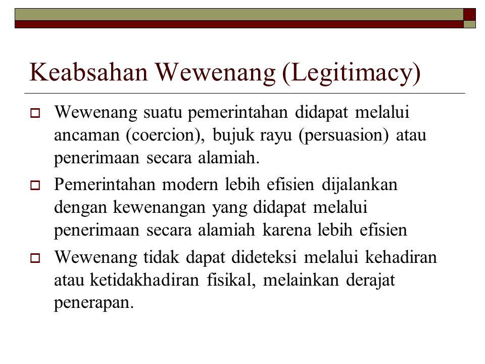 Keabsahan Wewenang (Legitimacy)  Wewenang suatu pemerintahan didapat melalui ancaman (coercion), bujuk rayu (persuasion) atau penerimaan secara alamiah.