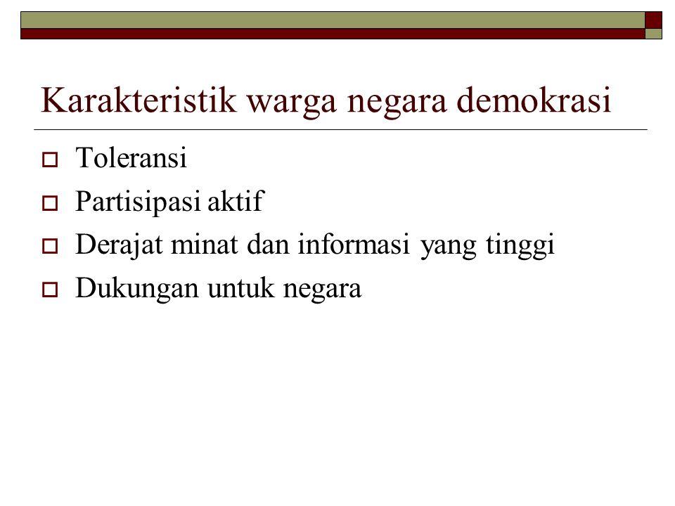 Karakteristik warga negara demokrasi  Toleransi  Partisipasi aktif  Derajat minat dan informasi yang tinggi  Dukungan untuk negara