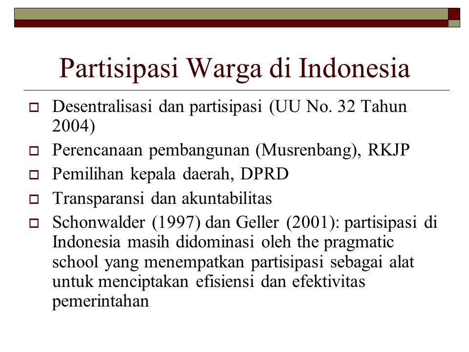 Partisipasi Warga di Indonesia  Desentralisasi dan partisipasi (UU No.