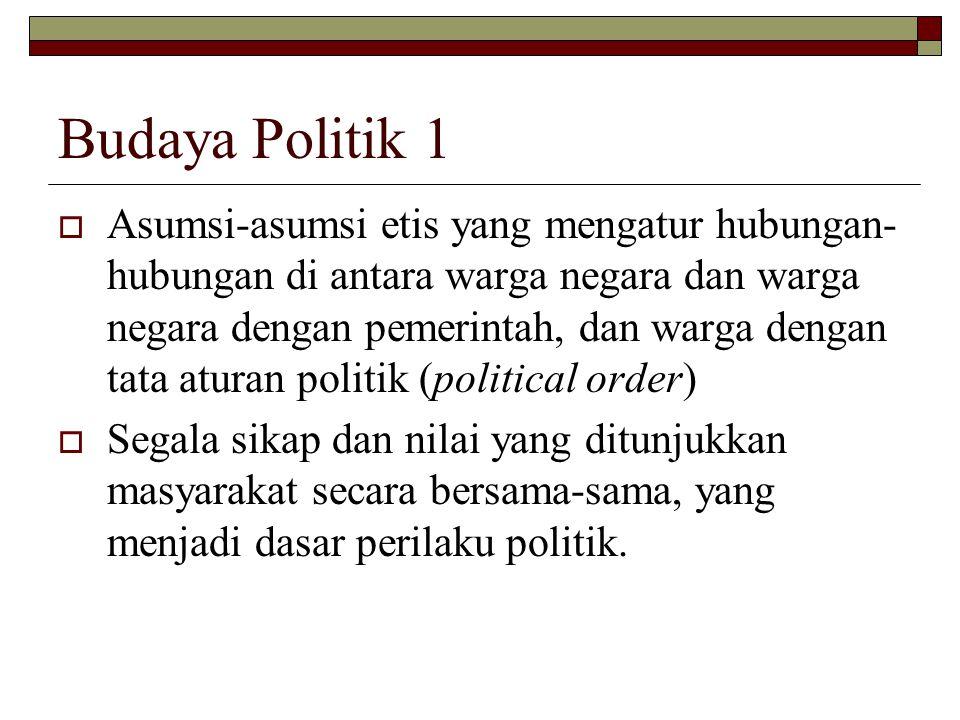 Budaya Politik 1 AAsumsi-asumsi etis yang mengatur hubungan- hubungan di antara warga negara dan warga negara dengan pemerintah, dan warga dengan tata aturan politik (political order) SSegala sikap dan nilai yang ditunjukkan masyarakat secara bersama-sama, yang menjadi dasar perilaku politik.