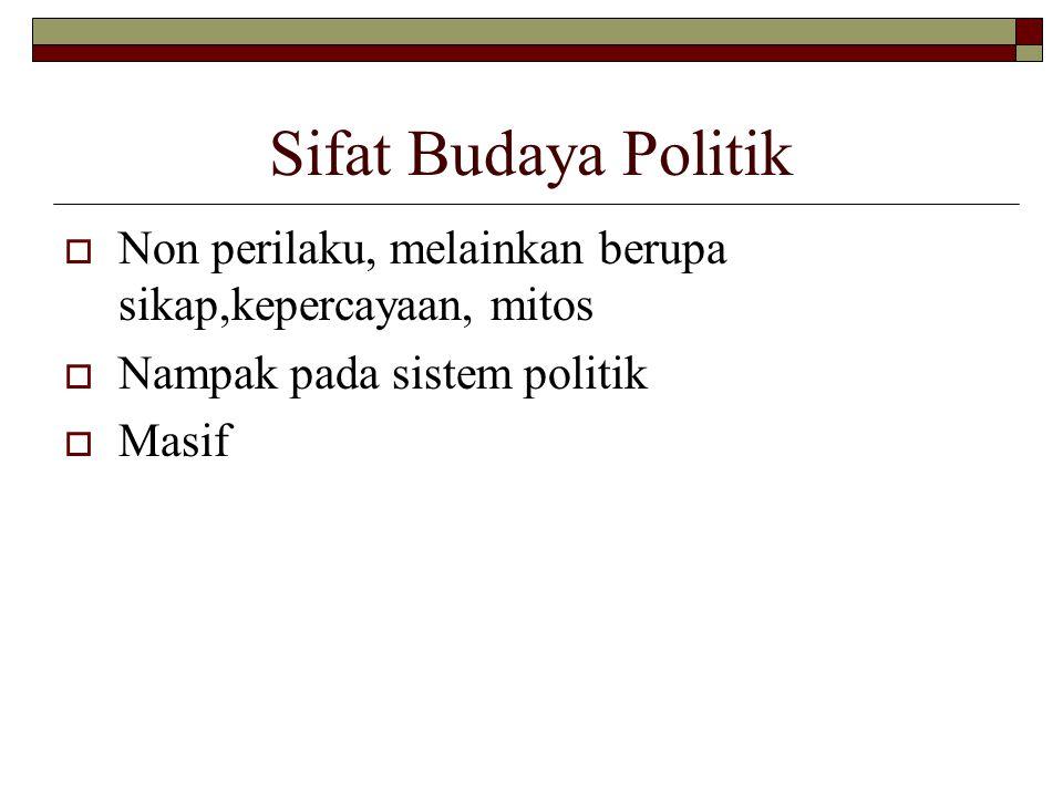 Sifat Budaya Politik  Non perilaku, melainkan berupa sikap,kepercayaan, mitos  Nampak pada sistem politik  Masif