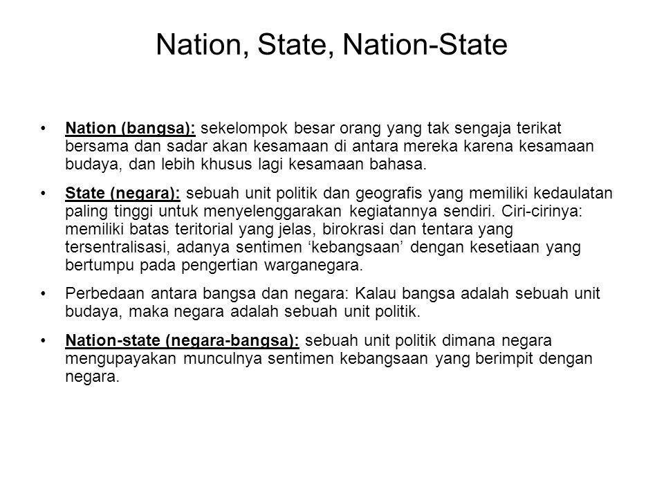 Nation, State, Nation-State Nation (bangsa): sekelompok besar orang yang tak sengaja terikat bersama dan sadar akan kesamaan di antara mereka karena kesamaan budaya, dan lebih khusus lagi kesamaan bahasa.