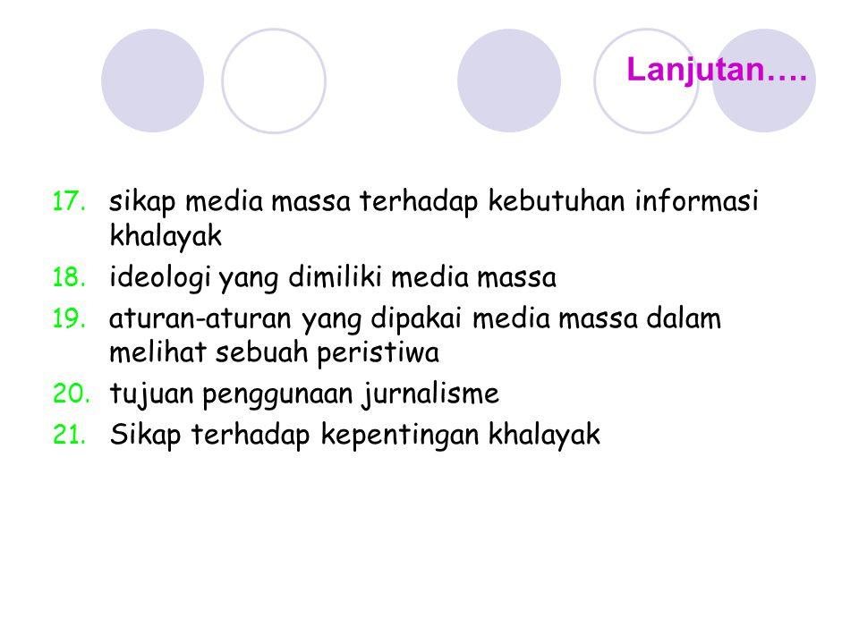Lanjutan…. 17. sikap media massa terhadap kebutuhan informasi khalayak 18. ideologi yang dimiliki media massa 19. aturan-aturan yang dipakai media mas