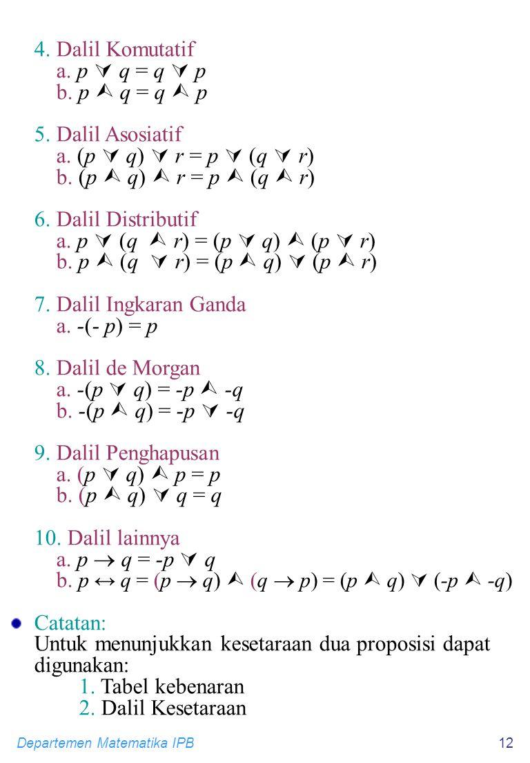 Departemen Matematika IPB12 4. Dalil Komutatif a. p  q = q  p b. p  q = q  p 5. Dalil Asosiatif a. (p  q)  r = p  (q  r) b. (p  q)  r = p 