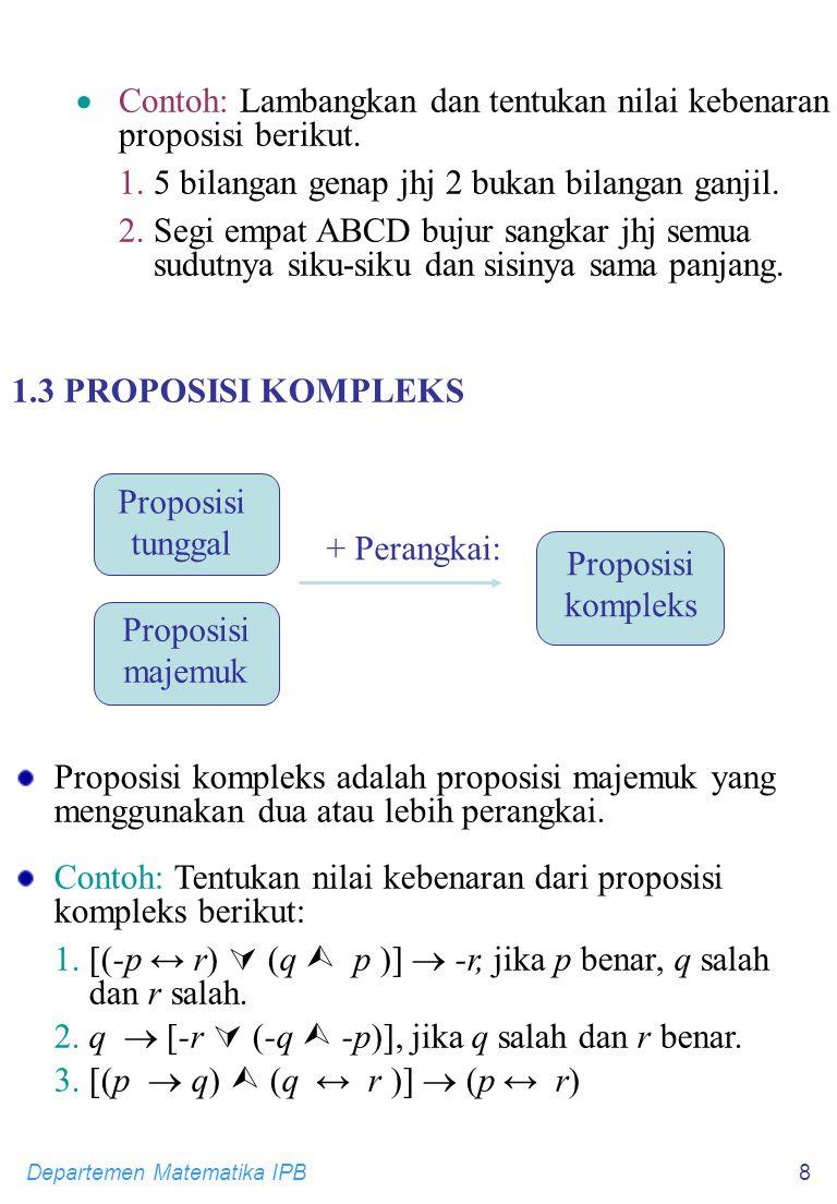 Departemen Matematika IPB8 Proposisi majemuk Proposisi tunggal Proposisi kompleks  Contoh: Lambangkan dan tentukan nilai kebenaran proposisi berikut.