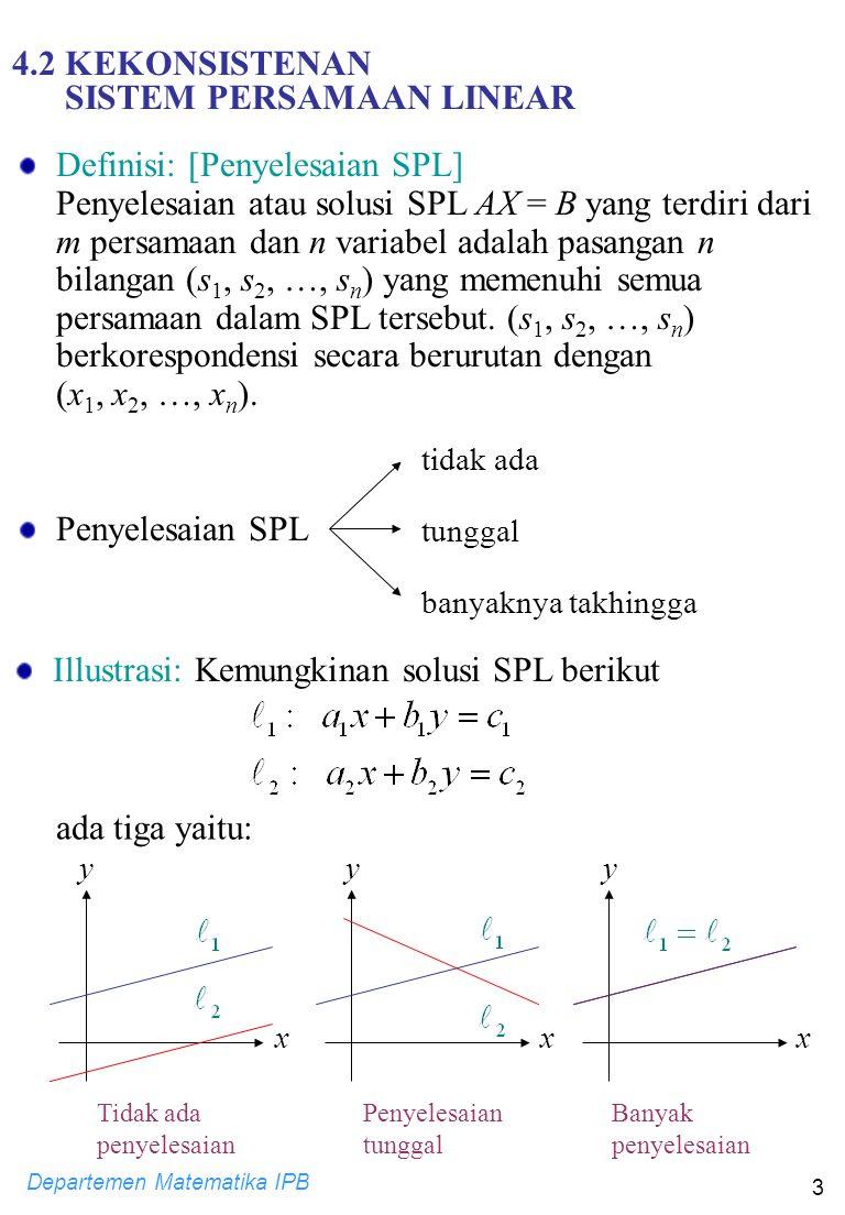 Departemen Matematika IPB 3 4.2 KEKONSISTENAN SISTEM PERSAMAAN LINEAR Definisi: [Penyelesaian SPL] Penyelesaian atau solusi SPL AX = B yang terdiri dari m persamaan dan n variabel adalah pasangan n bilangan (s 1, s 2, …, s n ) yang memenuhi semua persamaan dalam SPL tersebut.