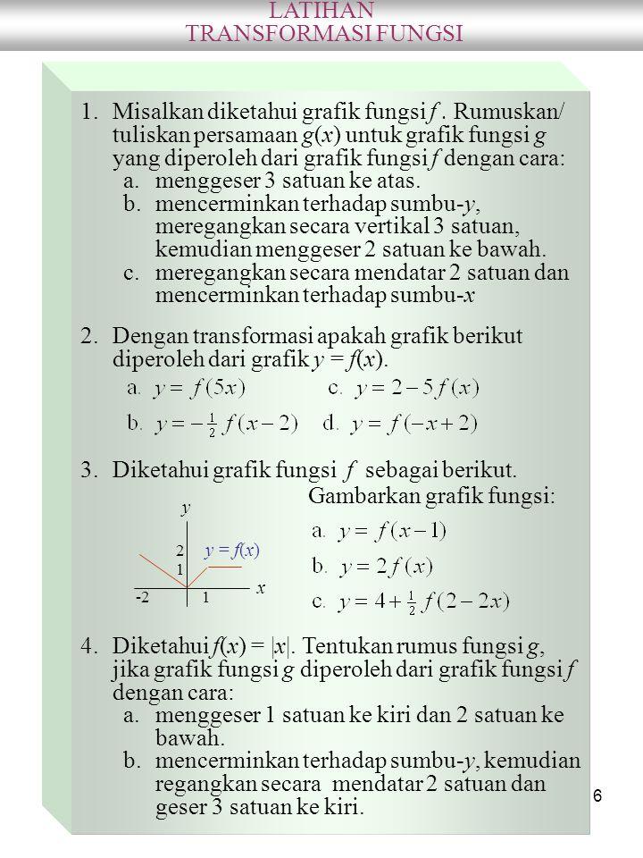 6 LATIHAN TRANSFORMASI FUNGSI 1.Misalkan diketahui grafik fungsi f. Rumuskan/ tuliskan persamaan g(x) untuk grafik fungsi g yang diperoleh dari grafik