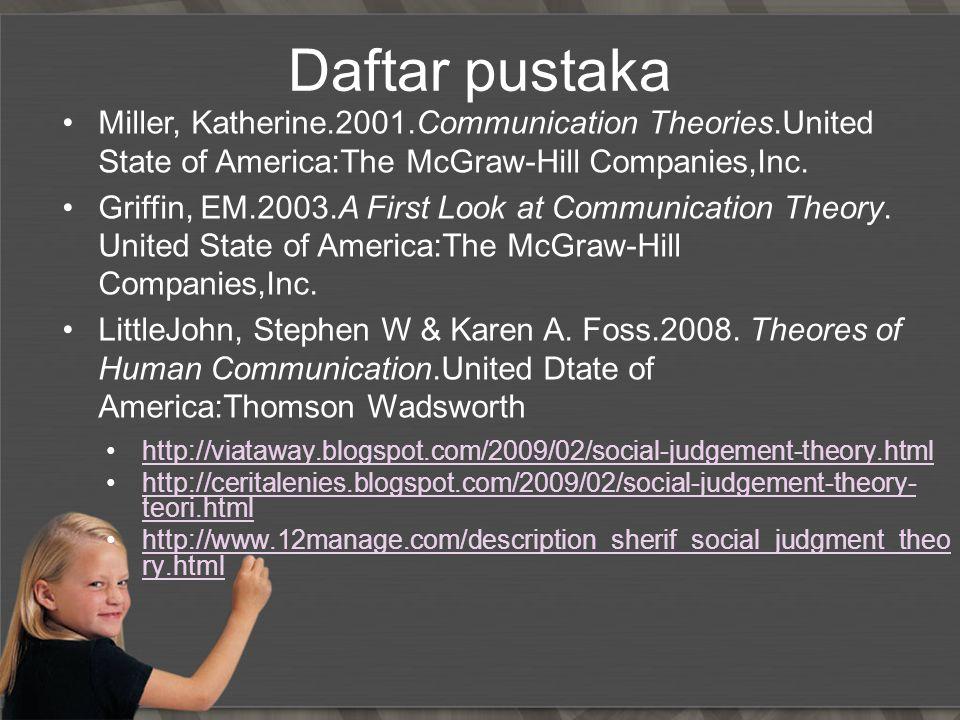 Daftar pustaka http://viataway.blogspot.com/2009/02/social-judgement-theory.html http://ceritalenies.blogspot.com/2009/02/social-judgement-theory- teo