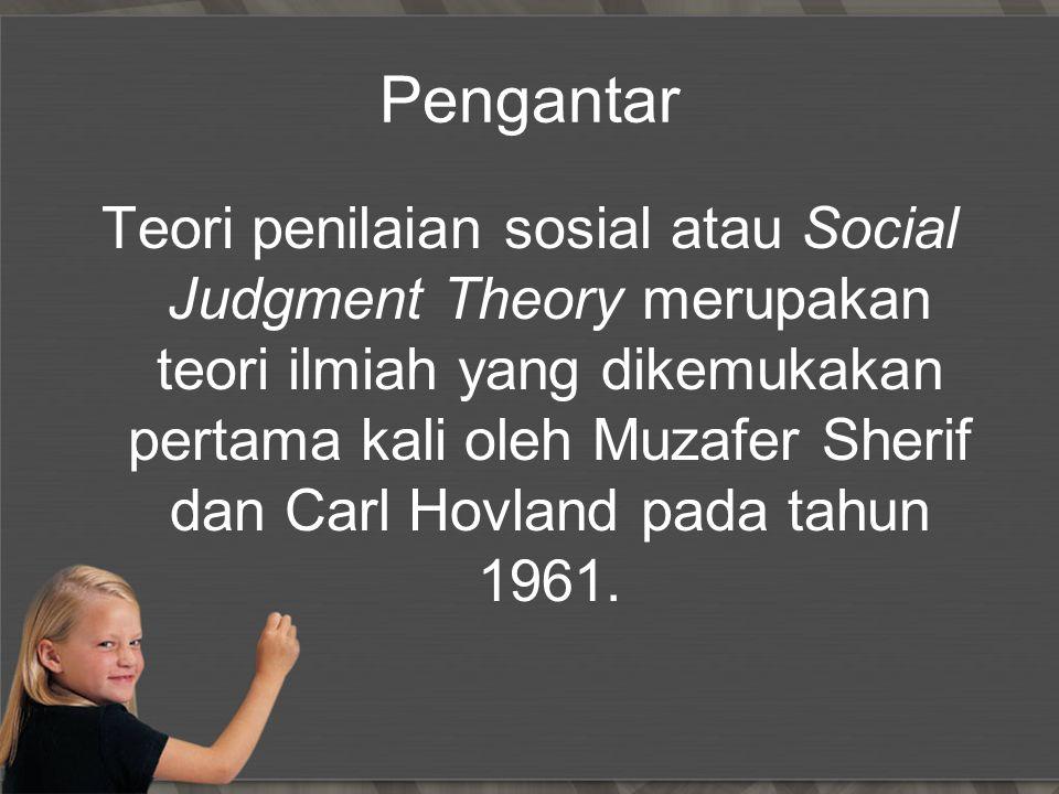 Pengantar Teori penilaian sosial atau Social Judgment Theory merupakan teori ilmiah yang dikemukakan pertama kali oleh Muzafer Sherif dan Carl Hovland