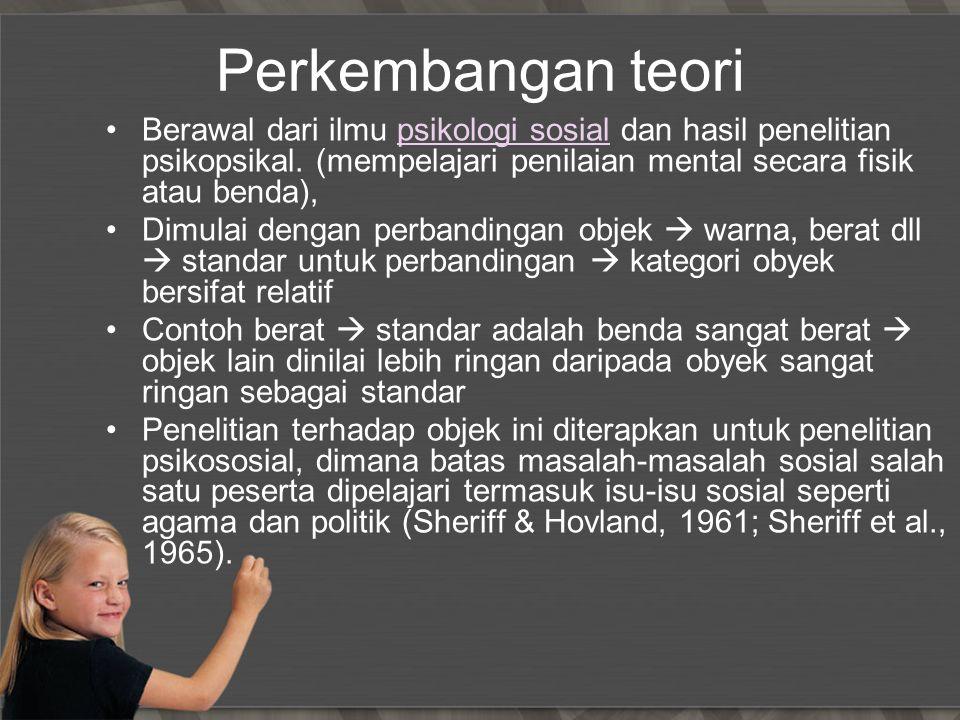 Perkembangan teori Berawal dari ilmu psikologi sosial dan hasil penelitian psikopsikal. (mempelajari penilaian mental secara fisik atau benda),psikolo