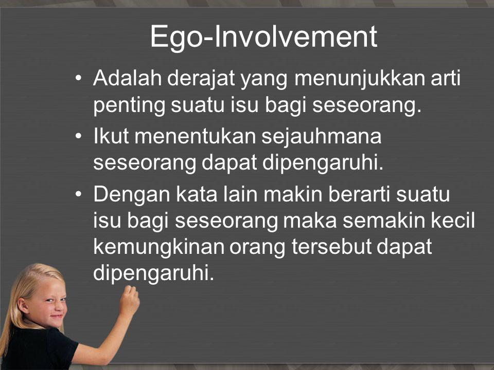 Ego-Involvement Adalah derajat yang menunjukkan arti penting suatu isu bagi seseorang. Ikut menentukan sejauhmana seseorang dapat dipengaruhi. Dengan