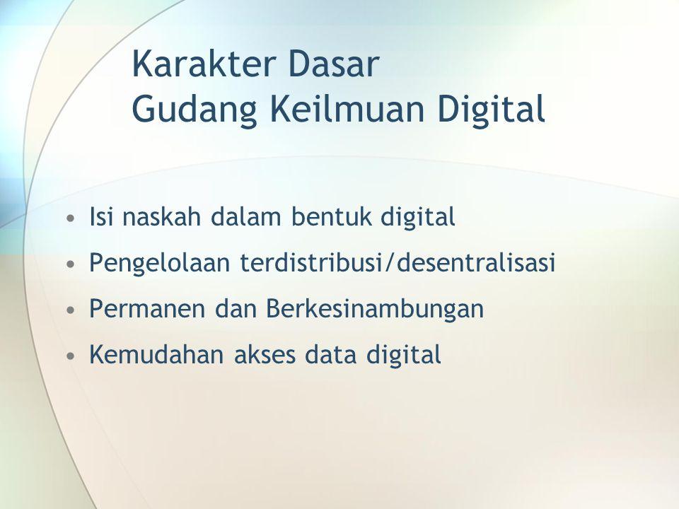 Karakter Dasar Gudang Keilmuan Digital Isi naskah dalam bentuk digital Pengelolaan terdistribusi/desentralisasi Permanen dan Berkesinambungan Kemudaha