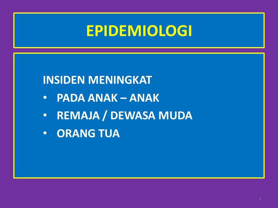 EPIDEMIOLOGI INSIDEN MENINGKAT PADA ANAK – ANAK REMAJA / DEWASA MUDA ORANG TUA 2