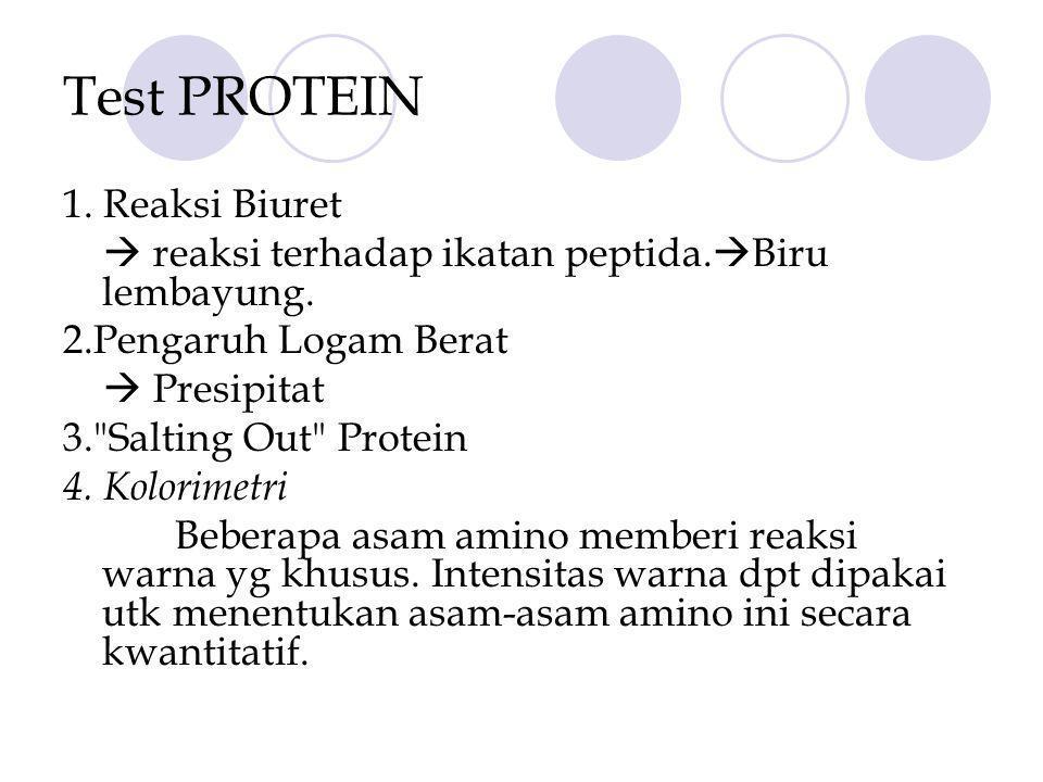 Test PROTEIN 1.Reaksi Biuret  reaksi terhadap ikatan peptida.