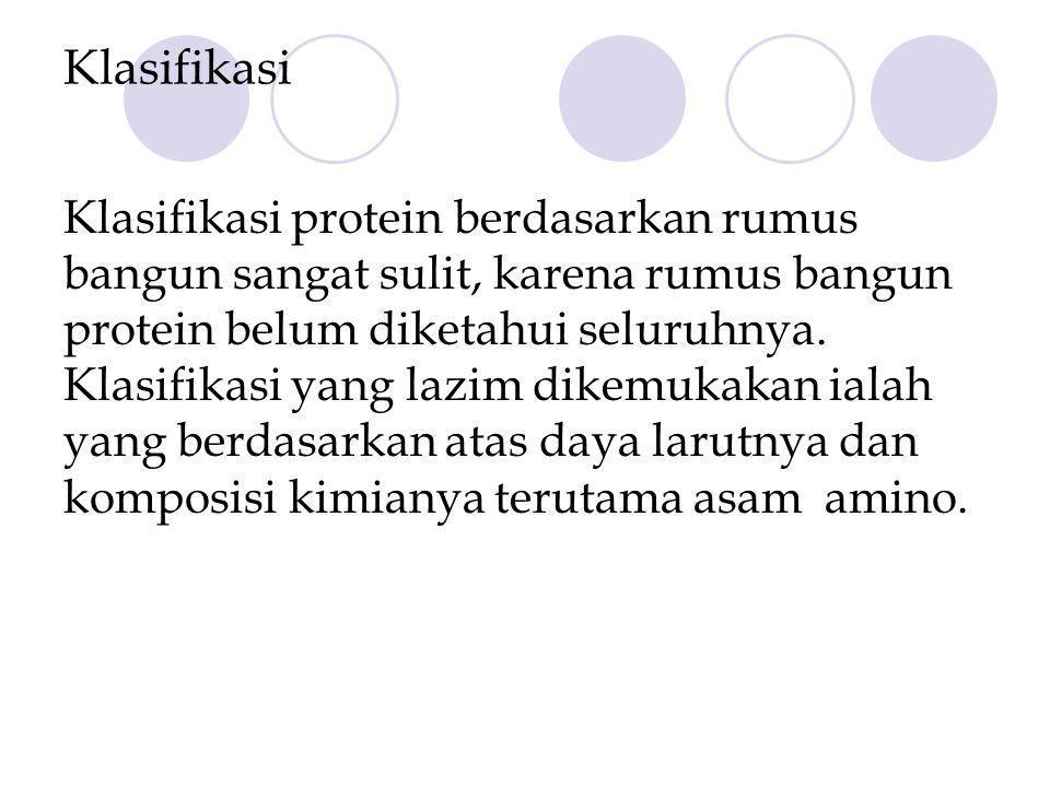 Klasifikasi Klasifikasi protein berdasarkan rumus bangun sangat sulit, karena rumus bangun protein belum diketahui seluruhnya.