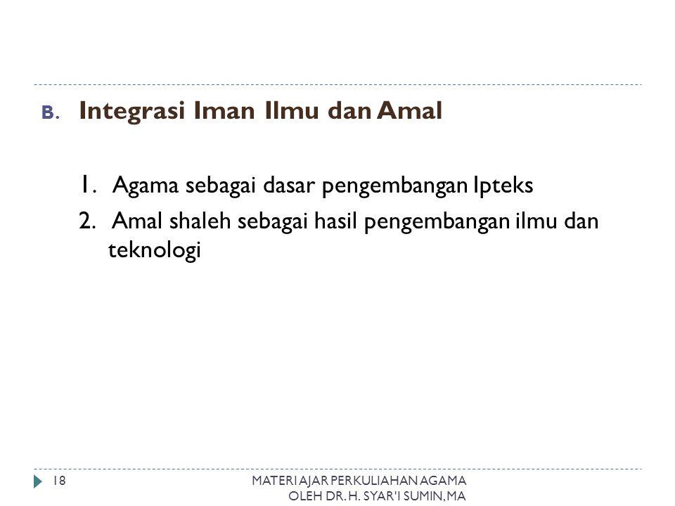 B. Integrasi Iman Ilmu dan Amal 1. Agama sebagai dasar pengembangan Ipteks 2. Amal shaleh sebagai hasil pengembangan ilmu dan teknologi MATERI AJAR PE