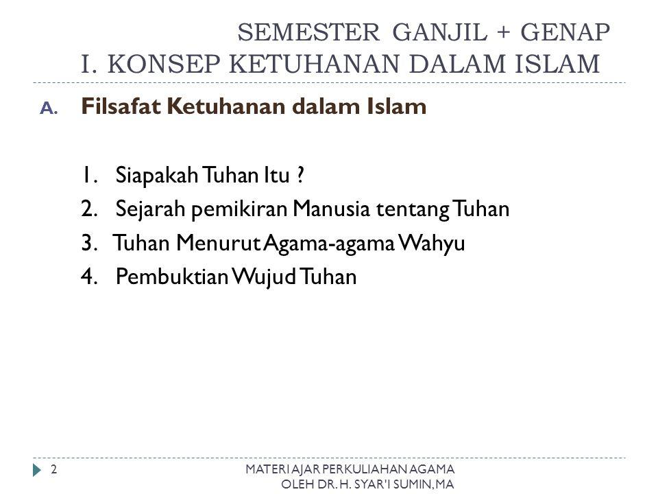 I. SEMESTER GANJIL + GENAP I. KONSEP KETUHANAN DALAM ISLAM A. Filsafat Ketuhanan dalam Islam 1. Siapakah Tuhan Itu ? 2. Sejarah pemikiran Manusia tent