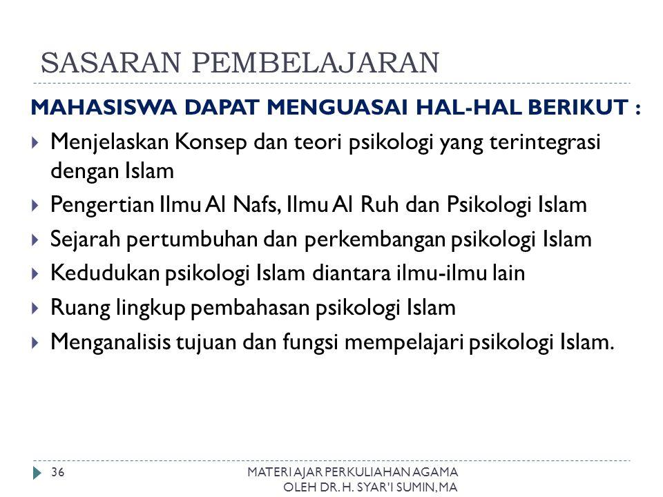 SASARAN PEMBELAJARAN MAHASISWA DAPAT MENGUASAI HAL-HAL BERIKUT :  Menjelaskan Konsep dan teori psikologi yang terintegrasi dengan Islam  Pengertian