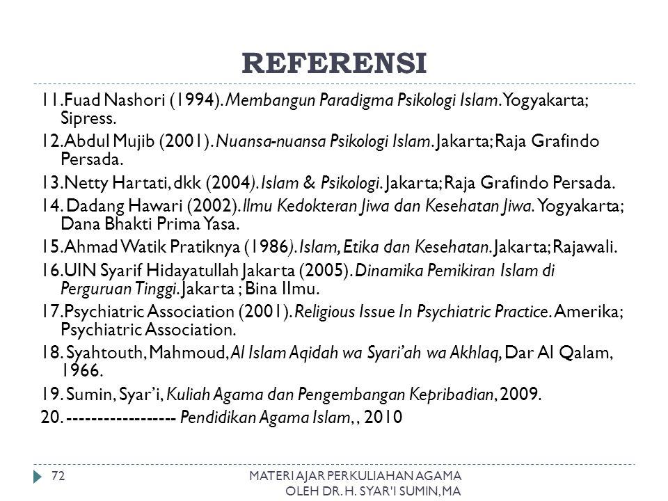 REFERENSI MATERI AJAR PERKULIAHAN AGAMA OLEH DR. H. SYAR'I SUMIN, MA 72 11.Fuad Nashori (1994). Membangun Paradigma Psikologi Islam. Yogyakarta; Sipre