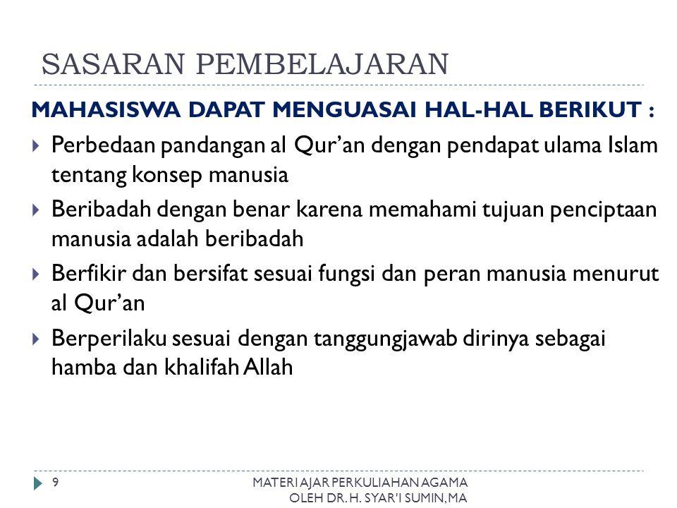 SASARAN PEMBELAJARAN MAHASISWA DAPAT MENGUASAI HAL-HAL BERIKUT :  Perbedaan pandangan al Qur'an dengan pendapat ulama Islam tentang konsep manusia 